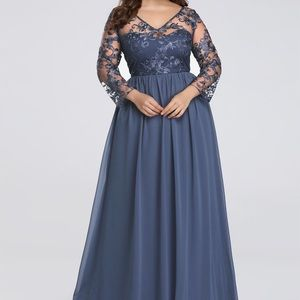 Floor Length Evening Dress with Sheer Lace Bodice